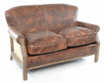 Soft Brown Leather and Hessian Upholstered 2 seater Sofa, Settee, Industrial, Vintage Living Room Seating, Real Leather Two Seatter Sofa