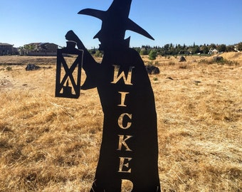 Witch Silhouette Wicked Yard Decoration Engraved Wood Sign, Halloween Decoration