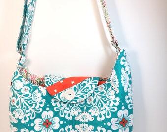Blue & White Floral~ SLOUCH Bag~CROSSBODY Bag-Bags and Purses-Messenger Bag~Diaper Bag~Shoulder Bag-Fabric Bag- Handmade Bag~Original