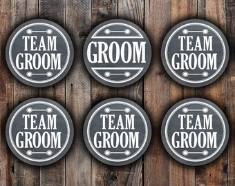 Chalkboard style Groom and Team Groom pins, 2.25 inch, for bachelor party, shower, wedding