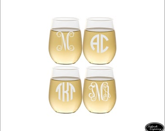 FOUR Custom Wine Glasses, SHIPS FAST, Personalized Monogrammed Wine Glasses, Engraved Stemless Wine Glasses, Etched Monogram Wine Glasses