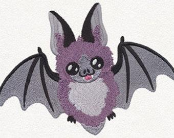 Happy Bat Embroidered Flour Sack Hand/Dish Towel