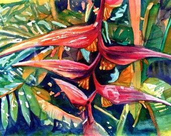 Original Aquarelle, Heliconia Gemälde, tropischen Blumen Gemälde, Kauai Kunst, Hawaiian Wand Dekor, Hawaii, hängende Heliconia