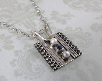 Kyanite and pearl pendant necklace, sterling silver Victorian inspired charm necklace, antique style pendant necklace, June birthstone