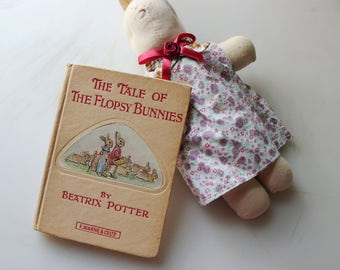 Vintage Easter Basket Gift Set, Muslin Bunny and Frederick Warne The Tale of the Flopsy Bunnies Beatrix Potter