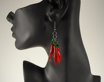 Handmade Borosilicate Chili Pepper Ristra Earrings