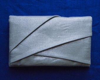 Silver linen pouch