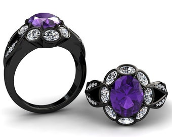 Amethyst And Moissanite Ring 2.50 Carat Oval Amethyst And Oval Moissanite Engagement Ring In 14k or 18k Black Gold SJW14PUBK