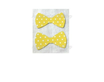 Yellow Polka Dot Bowtie Confetti, Baby Christening, Fathers Day, Cupcake Topper, Baby Shower, Paper Bowtie, Gift Card Bow Diecut - 24 Ct.