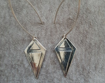 Silver Geo Kite Earrings