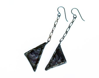 Stained Glass Earrings - Triangle Earrings - Gray Iridescent Earrings- Drop Earrings- Long Dangle Earring- Statement Earring