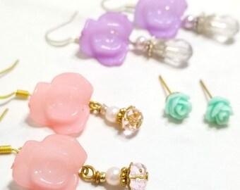 Rose Floral earring set of three (pastel pink/purple/blue)