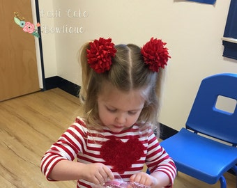 Red Korker Bows/Red Bows/Red Corker Bows/Red Curly Hair Bows for Pigtails or Ponytail/Red Hairbows for Girls/Corkscrew Hair bows Toddlers