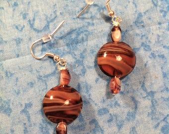 Lampwork Glass Earrings - Purple