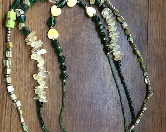 Beaded 3 strand green necklace