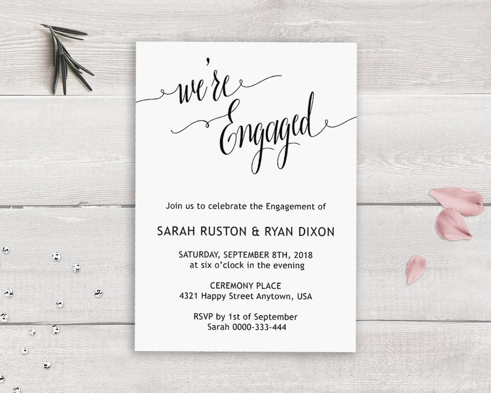 Engagement Party Invitation Template We\'re Engaged