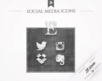Icônes de médias sociaux - tableau noir
