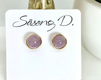 Amethyst gold wire wrapped stud