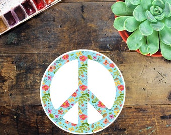 Peace Flower Sign Sticker - Laptop Sticker - Window Decal - Notebook Sticker - Phone Sticker - Peace Sign Sticker - Outside sticker