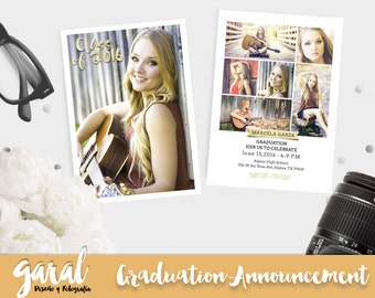 Senior Announcement Template, Senior Graduation Invitation Template, Graduation Announcement Card, Photoshop Template