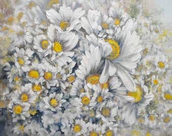 "Картина маслом ""Букет ромашек"",  Oil painting ""A bouquet of camomiles"","