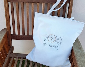 Embroidered Donut Tote Bag, Canvas Eco Shopping Bag, Gift For Her, Custom Embroidery Gift for Girl
