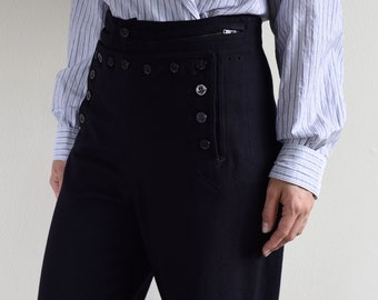 navy wool high waisted sailor pants / marine pants / wide leg trousers / 27w 28w / s-m