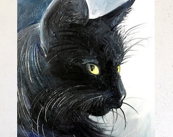 Cat original oil painting by Tetiana
