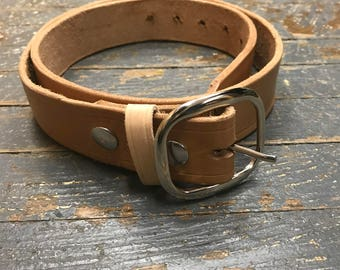Handmade Genuine Leather Belt with Buckle of Choice