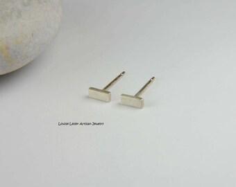 Silver Bar Earrings Handmade Simple Earrings Minimalist Earrings Sterling Silver Bar Studs Line Earrings