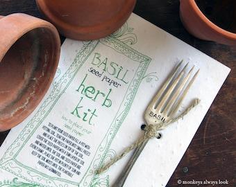 Basil herb kit plantable seed paper garden marker (E0295)