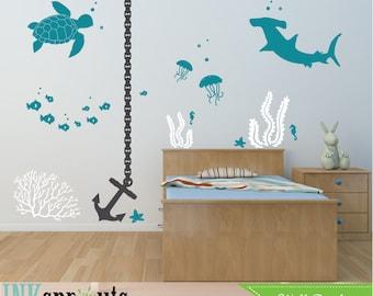 Under the sea Decal, Anchor Nautical decal set, Ocean friends, Sea Turtle, Shark, Nautical decal,  Modern Nursery, Nursery decals,