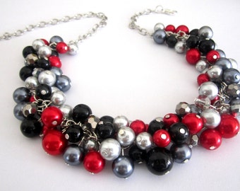 Red Pearl Necklace, Red Statement Necklace, Gift For Her, Bridesmaid Necklace, Red Black Silver Gray Winter Wedding