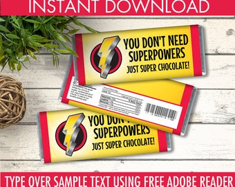 Power Ranger Party Candy Bar Wrappers - Chocolate Labels, Superhero Birthday   Editable Text DIY Instant Download PDF