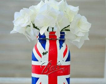 Union Jack Flag Mason Jar – Red, White, Blue Painted Mason Jar – Single Quart-Size Mason Jar