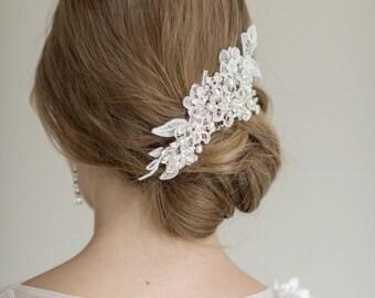 Lace Wedding Headpiece,  Wedding Hair Comb, Bridal Hair Comb, Lace Headpiece, Crystal Pearl Hair Comb, Bridal Headpeice