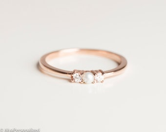 Anniversary Ring - Simple Ring Band - Thin Rose Gold Ring - Engagement Ring Setting -14K Gold- Diamond Rings For Women -Diamond Pearl Ring