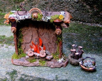 Faery Fireplace and Baskets, Custom Order, fairy house, dollhouse, fairy, natural materials, Waldorf, woodland