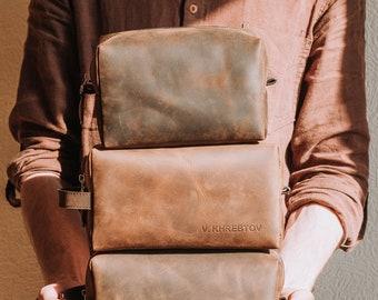 Groomsmen Gift- Dopp Kit Bag-Whiskey leather mens toiletry bag-Custom Groomsmen gift-Leather travel bag- Mens Dopp Kit-Dopp Bag-Toiletry Bag