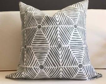 Pillow Cover, Gray Ikat Pillow Cover - FYNN