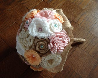 """""""Country chic"""" themed bridal bouquet (made to order)"""