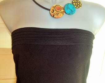 """""""quirky"""" cotton fabric and leather necklace."""