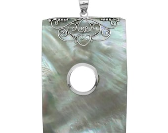 Mother of Pearl Rectangle Shaped Pendant without Chain in Sterling Silver Nickel Free TGW 20.00 cts.