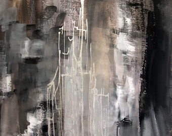 Dark Silver City - Original Abstract Gouache Ink Painting