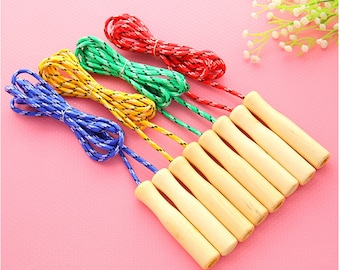 Toy - Jump Rope - Wooden Toy Jump Rope or Skipping Rope with Natural Handles- Skipping Rope