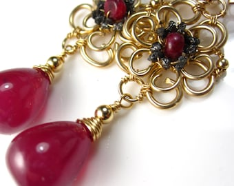 Ms. Ruby Divine - Ruby and Black Diamond Earrings