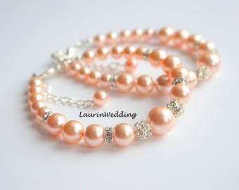 Peach Bracelet Wedding Bridal Bracelet Peach Pearl Bracelet Bridesmaid Gift Bracelet Wedding Jewelry Pearl and Rhinestone Bracelet Beaded