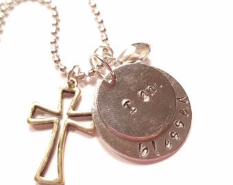 Necklace, I Am Blessed, Cross Necklace, Hand Stamped Metal Necklace, Stamped Necklace I Am Blessed, Charm Necklace, I Am Blessed Necklace