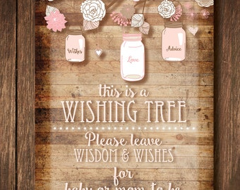 Baby Shower Wishing Tree Sign and Tags (Girl)- Instant Digital Download