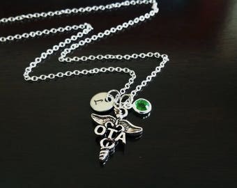 OTA Occupational Therapist Assistant Therapy Handstamped Personalized Crystal Birthstone Initial Necklace